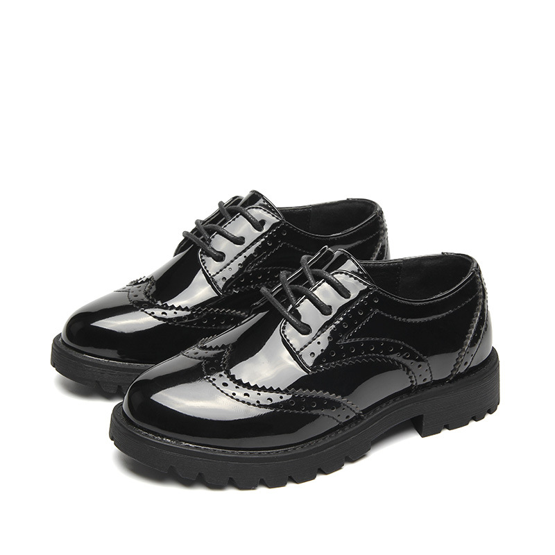 儿童皮鞋英伦布洛克男童黑色礼服皮鞋漆皮女童表演鞋舞台演出鞋子 黑色