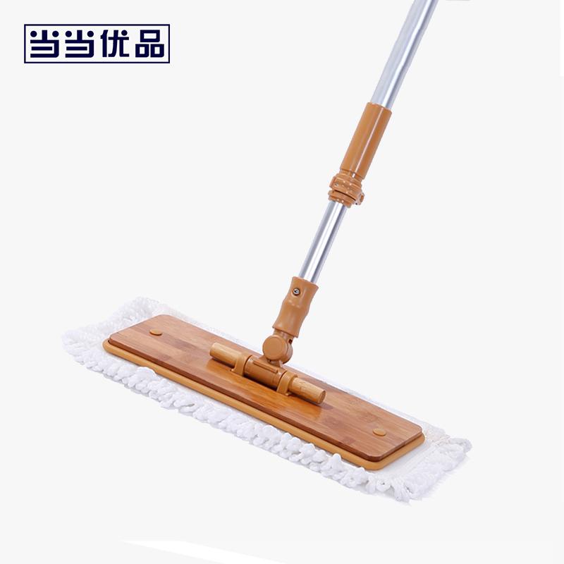 当当优品 可伸缩铝杆360度可旋转竹柄竹板拖把(内含两个布擦)当当自营 可伸缩 可旋转 竹柄竹板