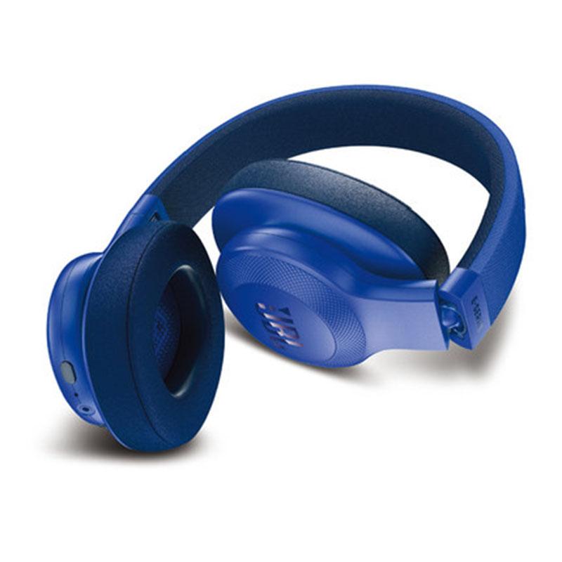 JBL E55BT头戴式无线蓝牙耳机音乐耳机便携HIFI重低音 立体声音乐耳机 蓝 下单可备注颜色或*发货