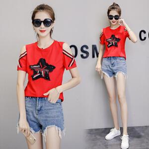 棉T恤女短袖2018新款韩版露肩五角星体恤打底衫上衣