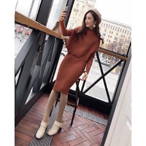 谜秀毛衣套装女秋冬装2017新款韩版修身针织衫马甲连衣裙两件套潮