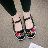 北京老布鞋女中跟民族风绣花鞋复古坡跟古风汉服鞋广场舞鞋单鞋子