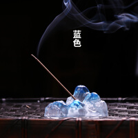 香台座 琉璃香插檀香炉线香座静思禅意桌面摆件创意工艺品礼品香薰线香炉 蓝色