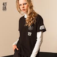 初语夏装新款迪士尼加勒比海盗印花黑色短袖T恤女纯棉卡通上衣潮