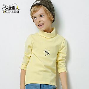 小虎宝儿童装男童高领t恤秋冬装2017新款 韩版儿童纯棉长袖中大童
