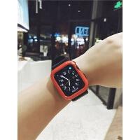 适用apple watch4表带适用苹果手表表带硅胶一体保护壳serise iwatch