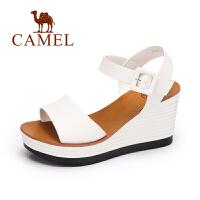 Camel/骆驼女鞋 春夏新品通勤坡跟凉鞋 优雅舒适高跟女凉鞋
