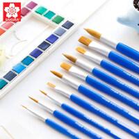 樱花水彩毛笔颜料画笔圆头水粉画笔丙烯画笔平头单支水彩画笔套装