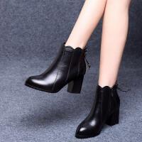 19冬季新款高跟时装靴女粗跟短靴女靴子中跟加绒加厚女鞋防滑