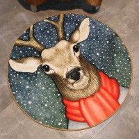 御目 地毯 个性动物圆形地毯客厅茶几毯卧室书房吊椅垫子圆形地垫电脑椅地垫满额减限时抢礼品卡家居用品