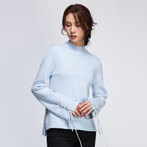 秋冬2017新款高龄长袖绑带修身女士毛衣纯色