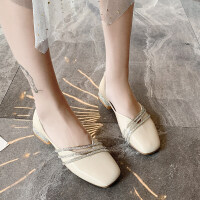 夏季女潮2019新款时尚单鞋女英伦复古潮流水钻中跟单鞋粗跟百搭潮
