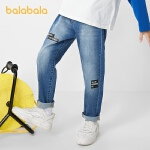 【4.19书香节 4件4折:62】巴拉巴拉男童裤子儿童春装2021新款童装中大童牛仔裤字母简洁百搭