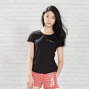 【每满100减50】美特斯邦威夏装女装透气基本短袖T恤206552