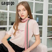 【5折价86】Lagogo/拉谷谷2019年夏季新款圆领字母宽松短袖T恤女IATT313G61