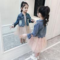 秋装儿童连衣裙女孩牛仔外套纱裙两件套