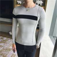 秋冬秋季长袖男士青年修身打底圆领男装欧美简约常规体恤T恤