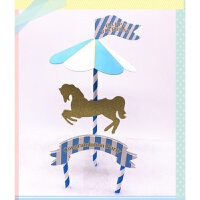 装饰 旋转木马音乐盒摆件装饰插旗 插卡 插件 烘焙装饰 浅藕色 10个价格