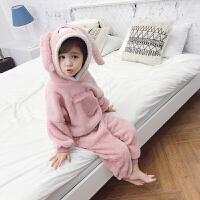 女宝宝冬装珊瑚绒家居服小女童秋冬季睡衣儿童套装