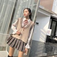 春装女2019新款套装撞色针织马甲女+花瓣袖条纹衬衫+百褶裙三件套