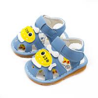 婴儿凉鞋0-1岁半学步鞋夏季包头软底防滑幼儿童6月牛筋底男宝宝鞋 湖蓝色 868牛筋底带叫