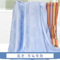 婴儿盖毯毛巾被薄款冰丝毯子竹纤维宝宝新生儿童毛毯棉 200x230cm 幸运草 蓝色