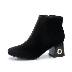 camel/骆驼女鞋 2017秋冬新款 通勤粗跟短筒靴 绒面绒里高跟保暖靴子女