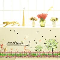可移除栏栅花圃踢脚线贴纸客厅餐厅卧室背景墙壁装饰画墙角线防水