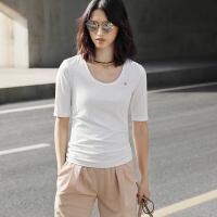 【1件8折/2件6折】Amii[极简主义]2017夏季新款纯色大码莫代尔深U型领显瘦短袖T恤女