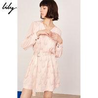 Lily春新款女装时尚通勤粉红流苏毛边V领系腰带连衣裙7937