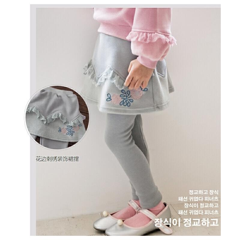 花边刺绣高腰打底裤假两件儿童裤子宝宝长裤