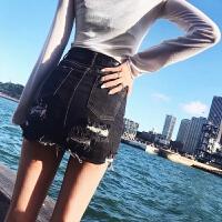 女家黑色牛仔半身裙韩版学生高腰破洞包臀裙裤裙chic短裙a型春款2018新品