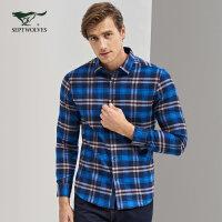 七匹狼长袖衬衫秋季中青年男时尚休闲商务格子衬衣