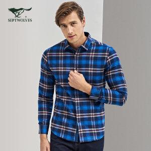 七匹狼长袖衬衫2017秋季新款中青年男时尚休闲商务格子衬衣