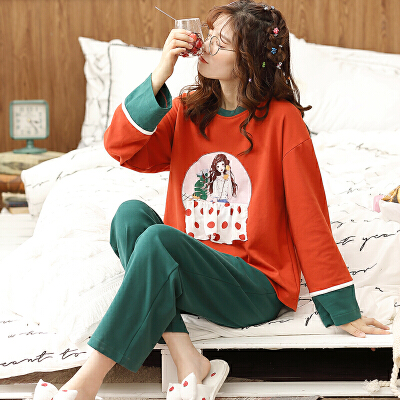 【NJR&秋冬新品】南极人家居服女睡衣棉质清新个性宽松休闲柔软舒适时尚长袖套装KH6153