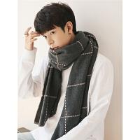 围巾男冬季生日礼物韩版学生男士围巾百搭简约格子围脖男礼盒装潮