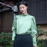 生活在左2019春款新品长袖衬衣女装上衣气质文艺衬衫