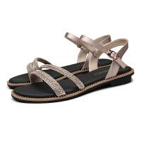 凉鞋女鞋夏季新款优雅平底水钻坡跟一字带仙女风女凉鞋