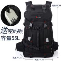 2018新款休闲男士双肩包大容量登山包多功能时尚女户外旅行背包电脑包 黑色