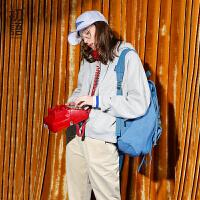 初语2017冬装新款连帽抓绒宽松卫衣女 加厚休闲时尚套头运动帽衫