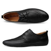 夏季男鞋真皮系带韩版潮豆豆鞋黑色手工缝线男士运动休闲皮鞋