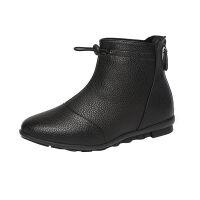 妈妈鞋短靴女冬2019新款皮靴圆头中跟加绒雪地棉靴秋冬靴子 黑色 (加绒)