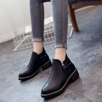 单款短靴19女秋冬季百搭平底马丁皮靴切尔西复古裸靴学生低跟女鞋
