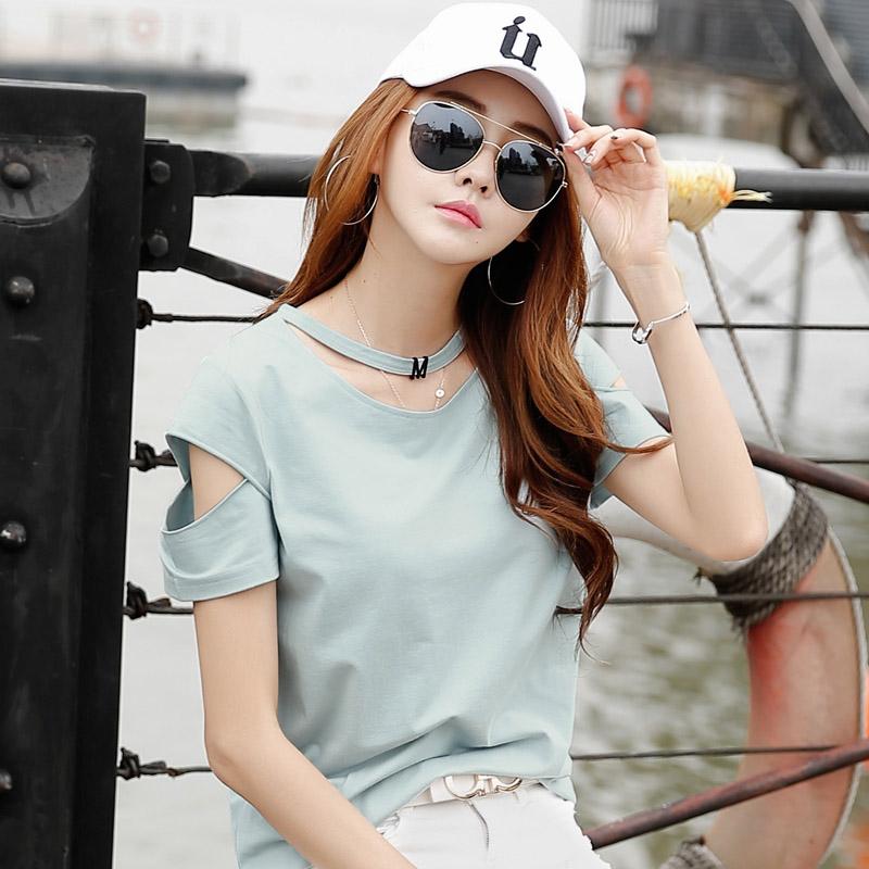 短袖t恤女宽松韩版夏装新款棉质上衣打底体恤衫显瘦半袖女潮