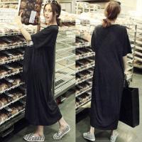 2017新款夏装韩版女装休闲气质大码宽松短袖连衣裙黑色莫代尔长裙