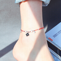 四叶草脚链女红绳简约学生森系个性闺蜜脚环性感脚踝链