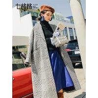 七格格毛呢外套秋装女2018新款韩版显瘦呢子中长款格子呢大衣冬装