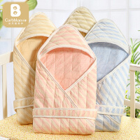 婴儿抱被新生儿春秋包被初生宝宝用品襁褓纯色棉质加厚冬保暖