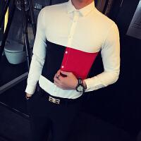 春夏男士修身长袖衬衣韩版青年发型师印花酒吧KTV夜店工作服衬衫