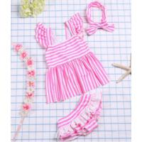 韩版儿童泳衣女童分体宝宝 可爱婴儿甜美条纹大小童女孩度假游泳衣